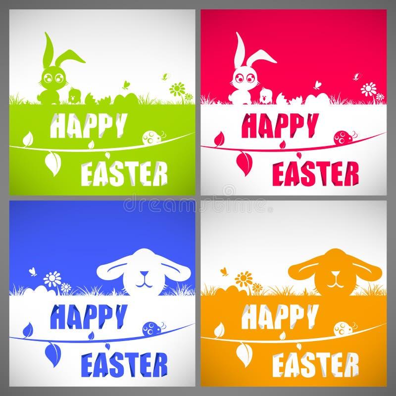 愉快的复活节五颜六色的传染媒介例证卡集用大耳兔子和鸡剪影在草甸 库存例证