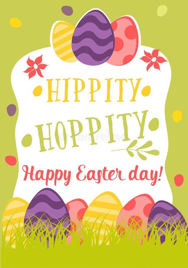 愉快的复活节减速火箭的卡片用鸡蛋,草,花 逗人喜爱的传染媒介例证词组Hippity, hoppity 皇族释放例证