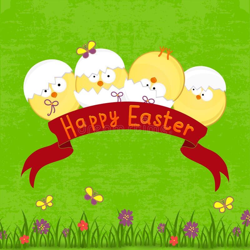 愉快的复活节卡片模板,篮子用鸡蛋 皇族释放例证
