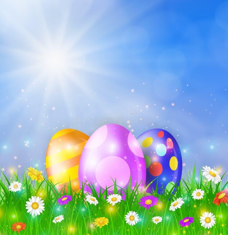 愉快的复活节卡片用鸡蛋,草,花 向量例证