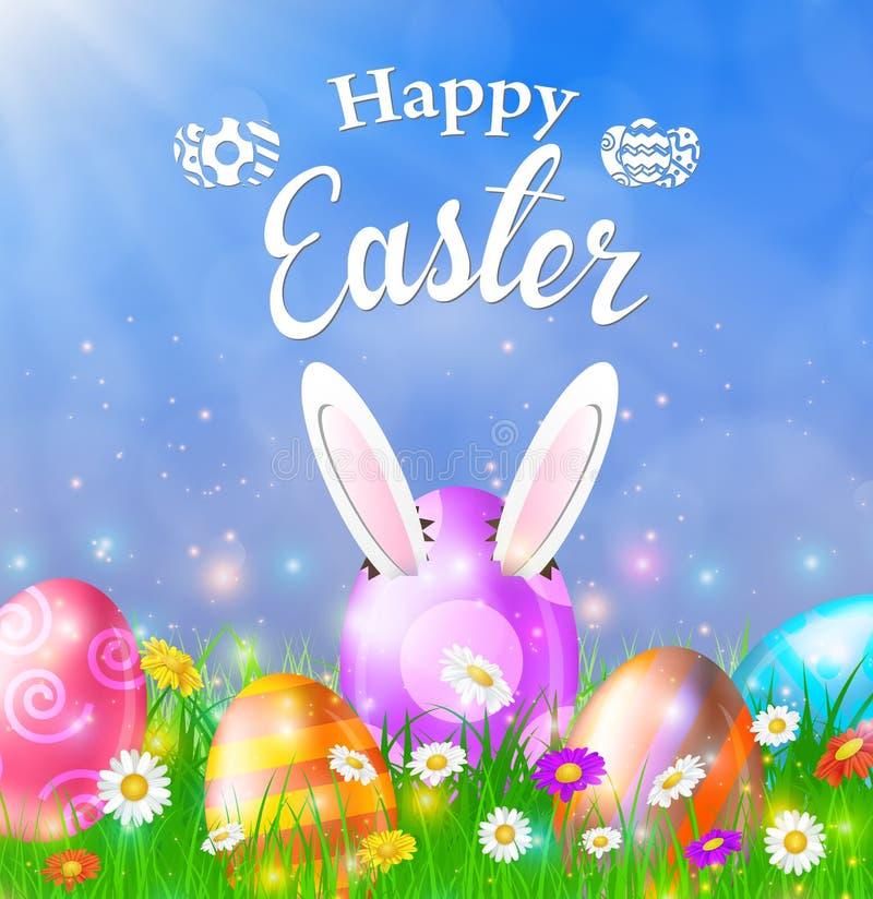 愉快的复活节卡片用鸡蛋,草,花 皇族释放例证