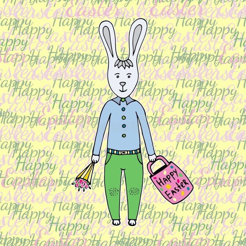愉快的复活节天!与逗人喜爱的复活节兔子的贺卡 愉快的复活节 向量例证