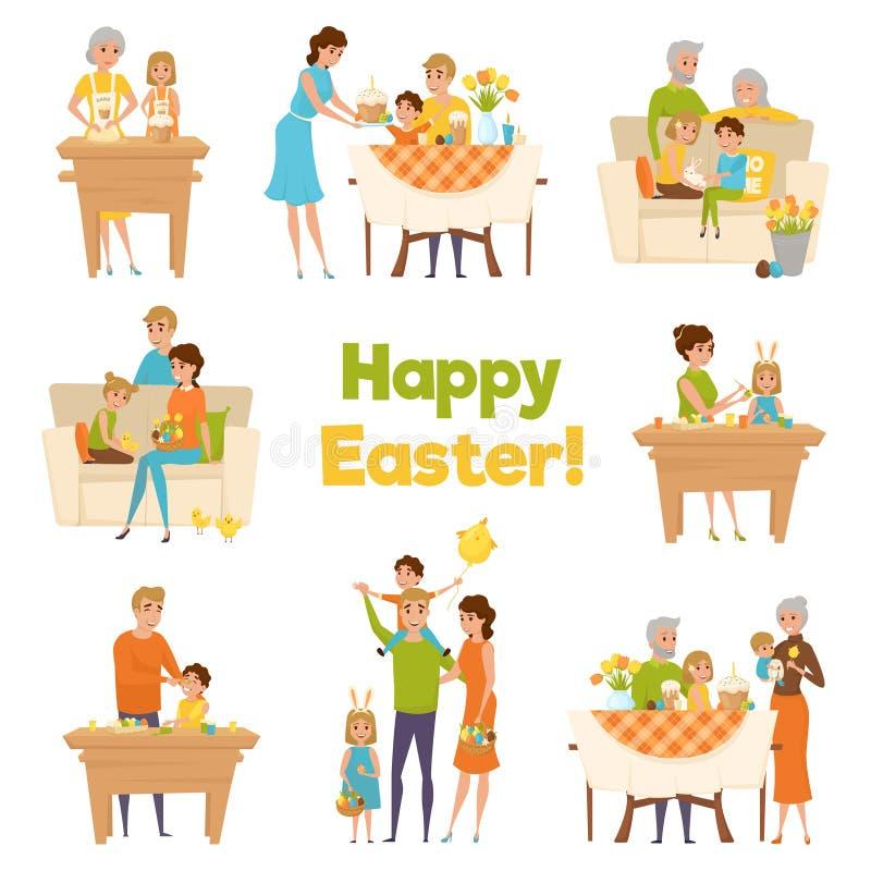 愉快的复活节家庭集合 向量例证