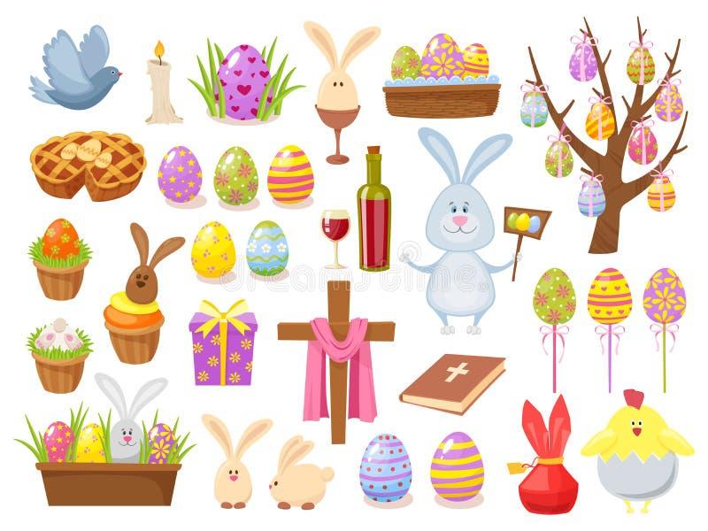 愉快的复活节对象的大收藏 平的设计传染媒介例证 套春天宗教基督徒五颜六色 库存例证
