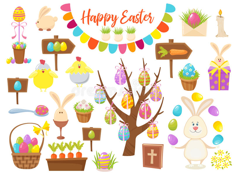 愉快的复活节对象的大收藏 平的设计传染媒介例证 套春天宗教基督徒五颜六色 向量例证