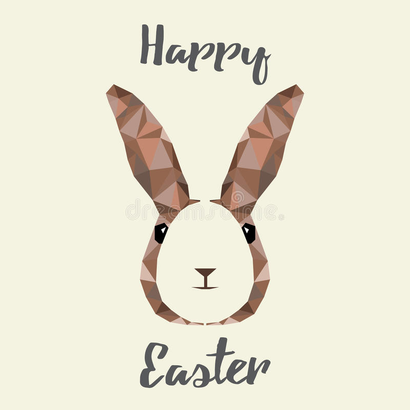 愉快的复活节彩蛋和兔宝宝低多贺卡与消极空间,例证eps 10 皇族释放例证
