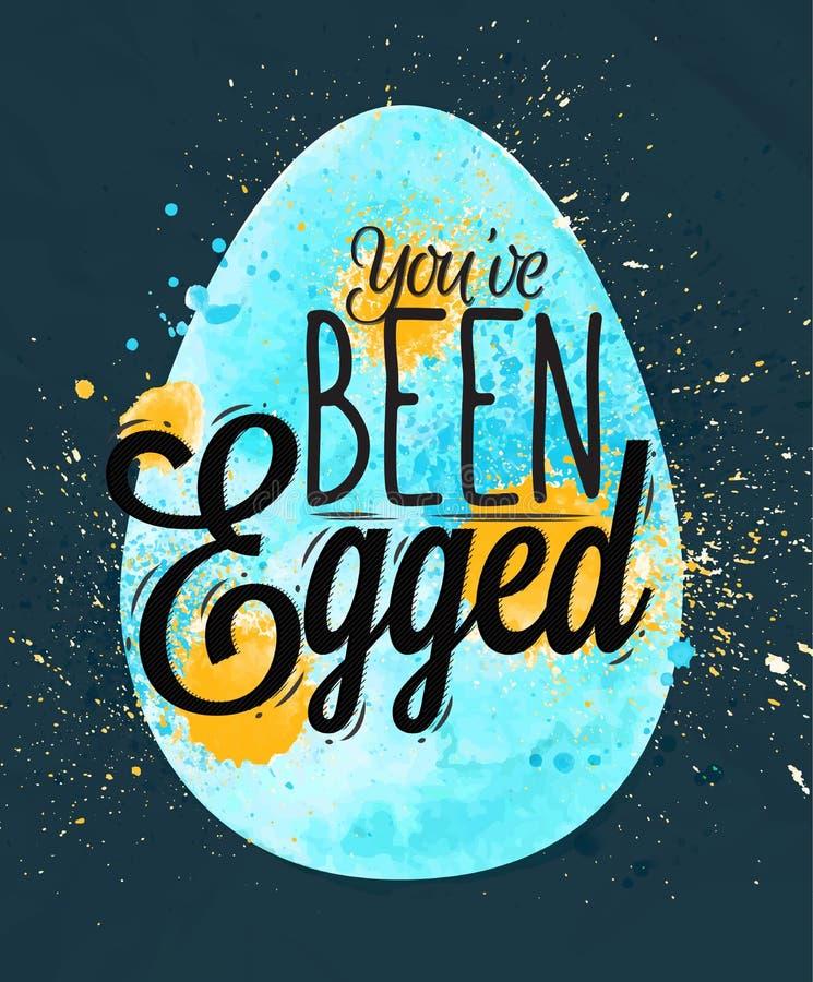 愉快的复活节彩蛋海报蓝色 向量例证
