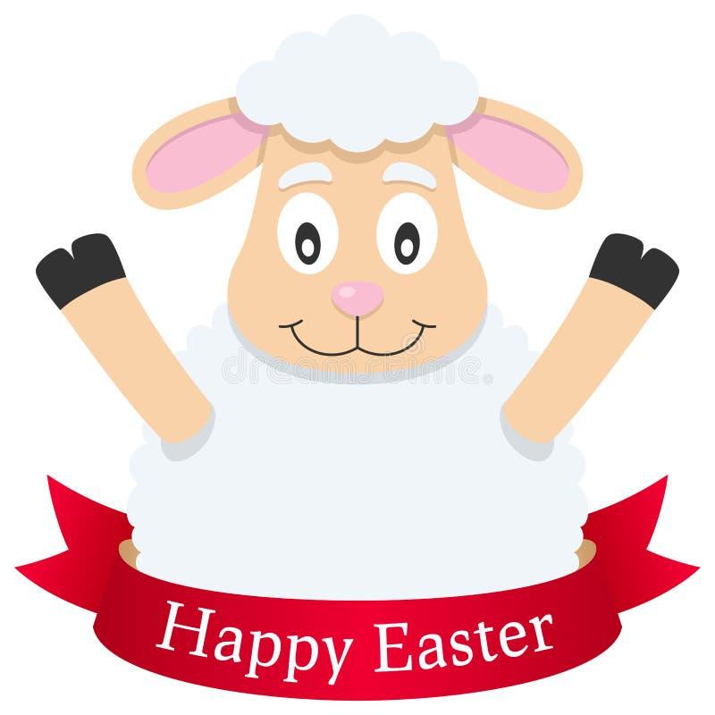 愉快的复活节羊羔或绵羊与丝带 皇族释放例证