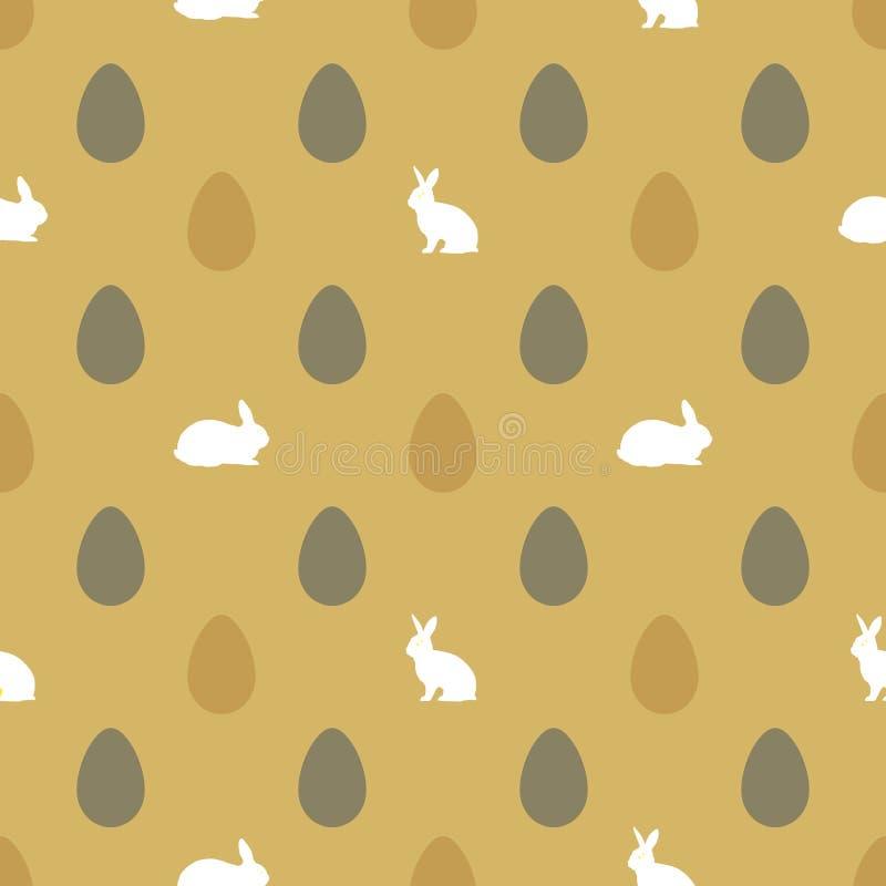 愉快的复活节背景用鸡蛋和兔子 库存例证