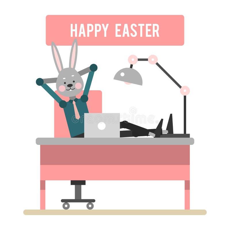 愉快的复活节 休息在工作场所的动画片兔子 模板 向量例证