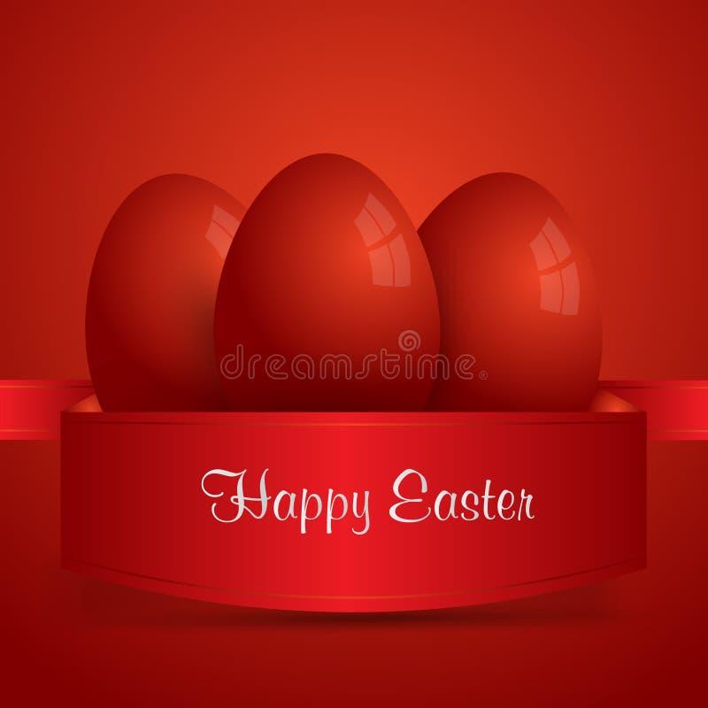 愉快的复活节 在红色丝带包裹的红色复活节彩蛋 红色backgro 向量例证