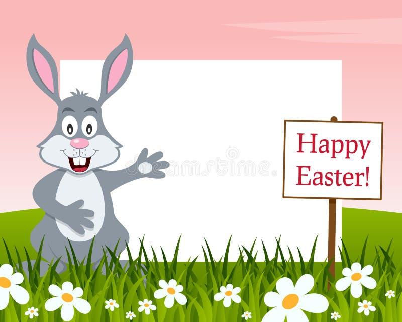 愉快的复活节水平的框架-兔子 向量例证