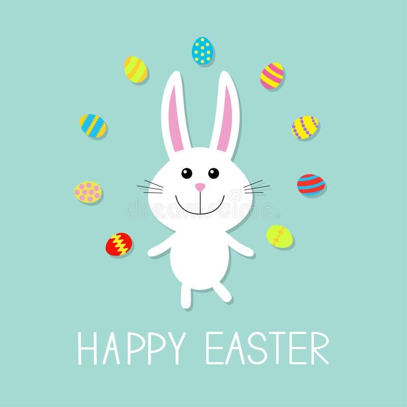 愉快的复活节 逗人喜爱的小兔玩杂耍鸡蛋 平的设计 库存例证