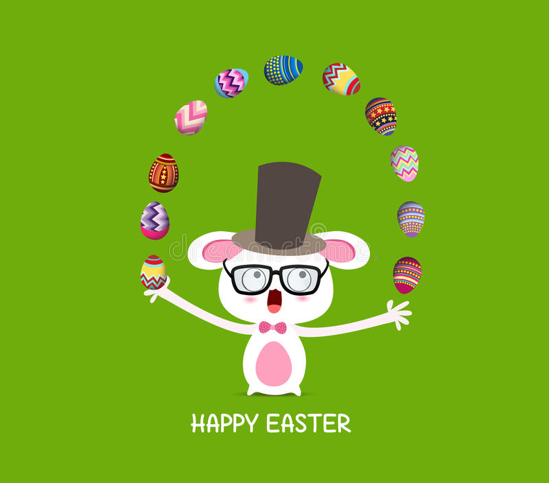 愉快的复活节 马戏捕捉兔子用鸡蛋 皇族释放例证