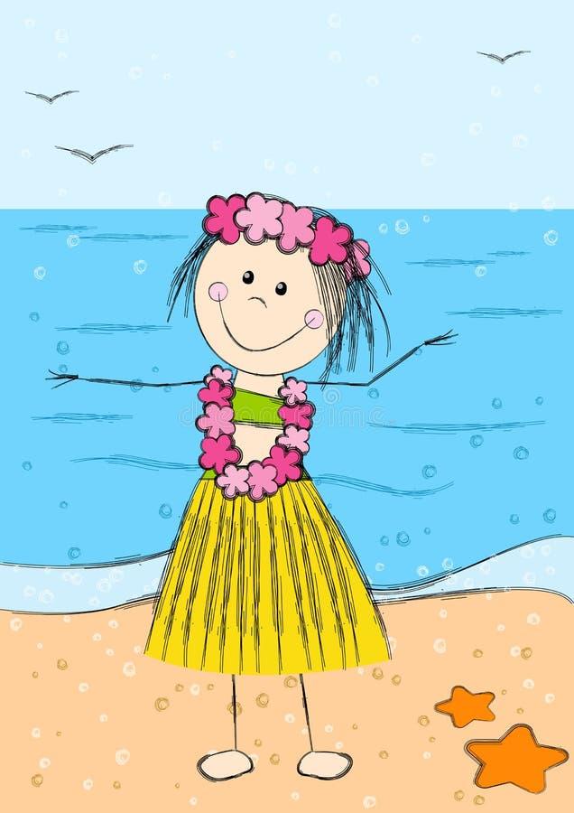 愉快的夏威夷女孩 库存例证