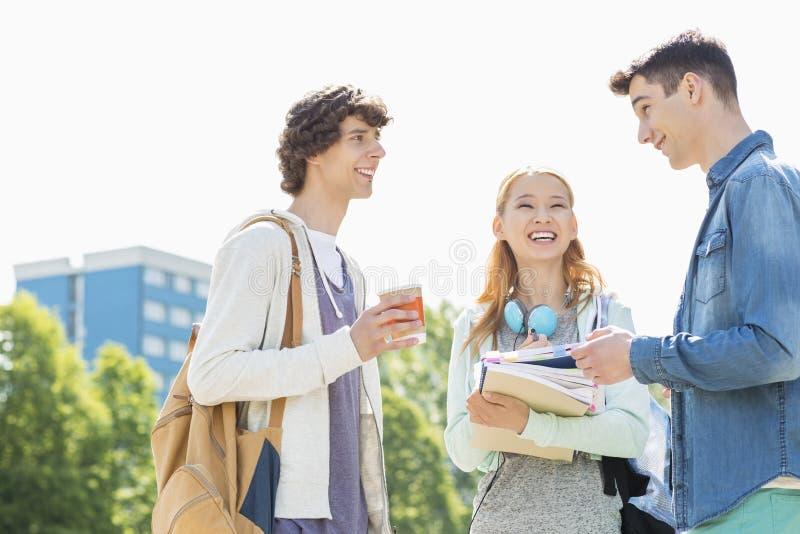 愉快的大学生交谈在校园 免版税库存图片