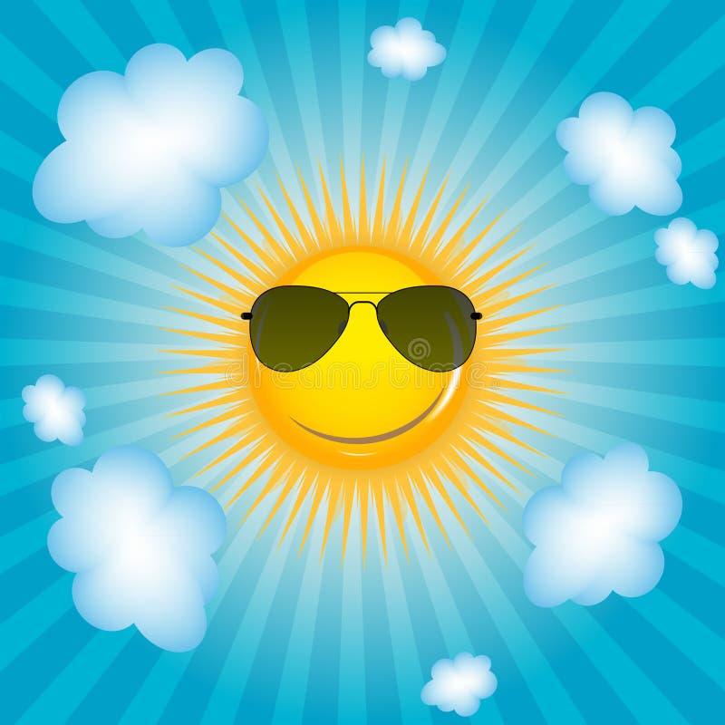 愉快的太阳背景传染媒介例证 向量例证