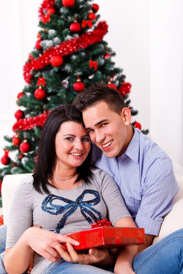 愉快的夫妇圣诞节 库存照片