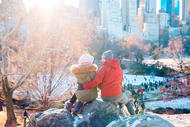 愉快的夫妇在中央公园享受著名冰溜冰场看法在纽约 图库摄影