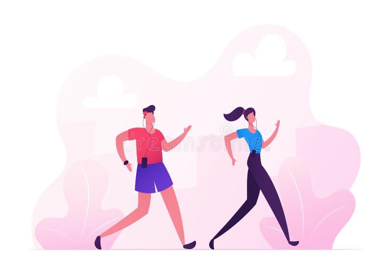 愉快的夫妇男人和妇女体育的佩带连续城市马拉松在自然风景背景 夏令时户外运动 向量例证