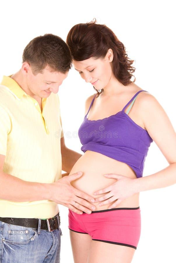 愉快的夫妇等待的婴孩 库存照片