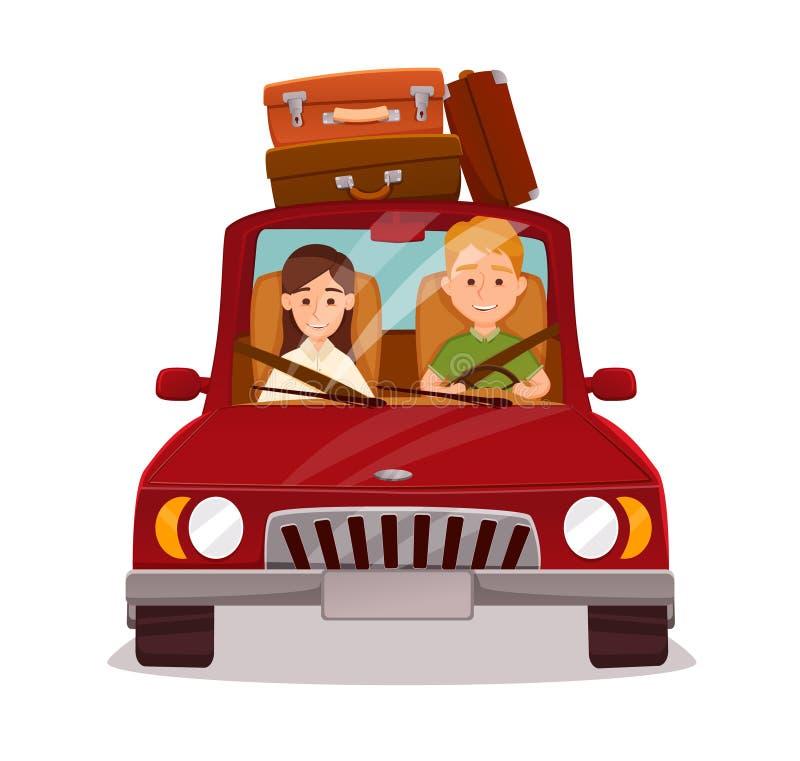 愉快的夫妇 汽车旅行 库存例证
