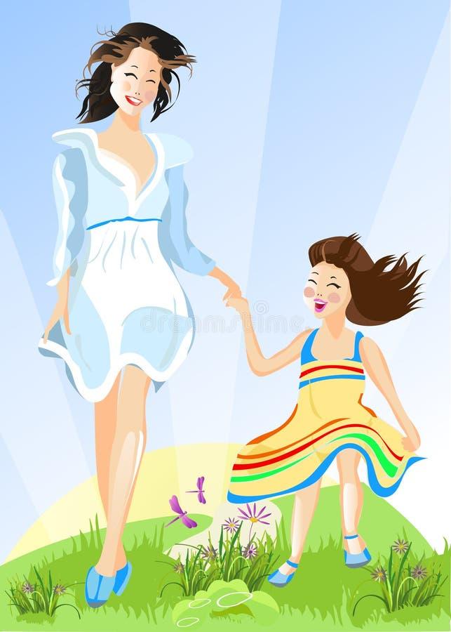 愉快的女儿她的母亲 向量例证