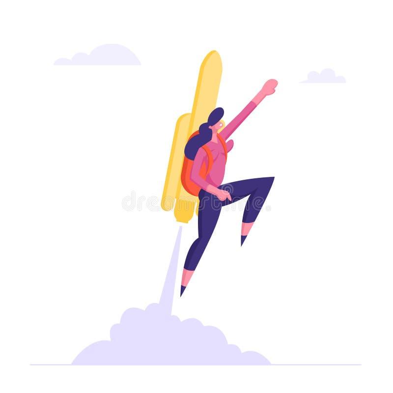 愉快的女商人或经理飞行在Jetpack对目标成就 有火箭队的女孩在后面伸手可及的距离新的水平上 库存例证