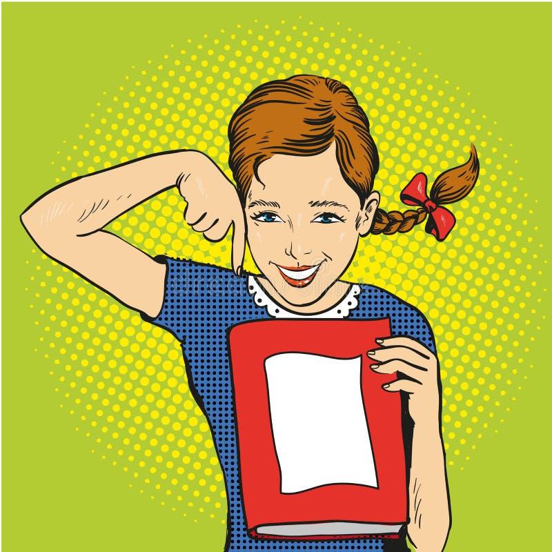 愉快的女孩举行一本书在她的手上 导航在可笑的减速火箭的流行艺术样式的例证 回到学校概念模板 皇族释放例证