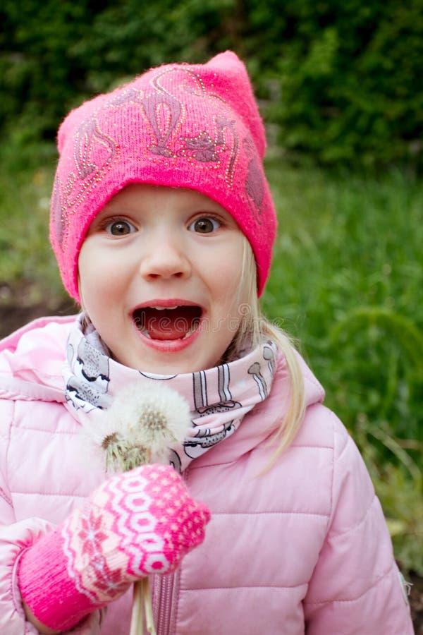 愉快的女孩吹的蒲公英画象在一寒冷 库存照片