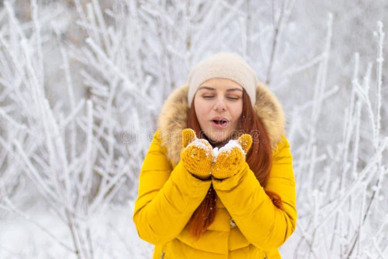 愉快的女孩在冬天给吹在棕榈穿衣 免版税库存图片