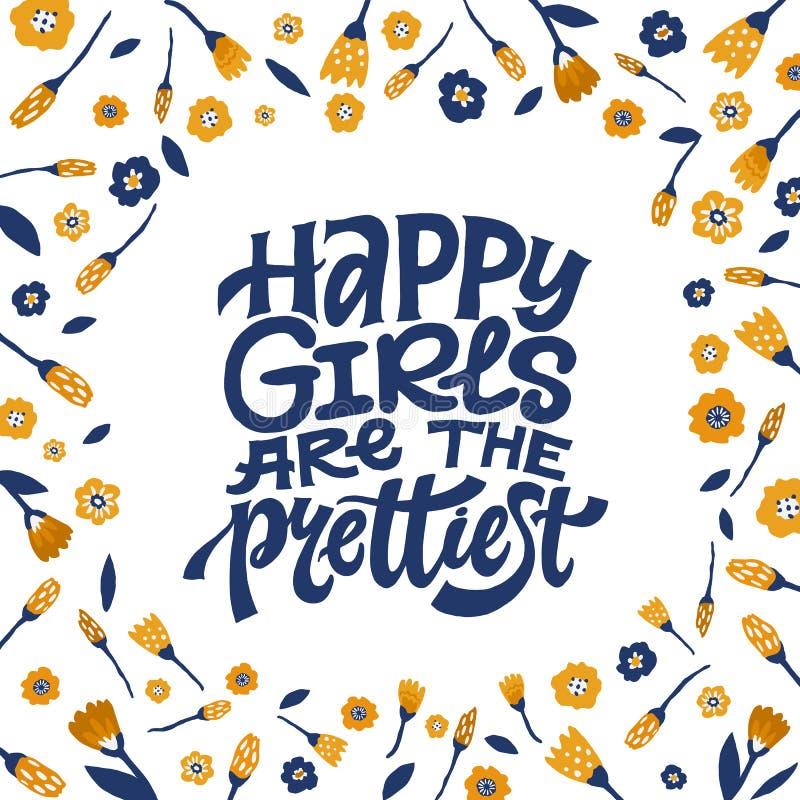 愉快的女孩是与花卉装饰的最俏丽的激动人心的娘儿们行情 手与五颜六色的花的书面印刷术 向量例证