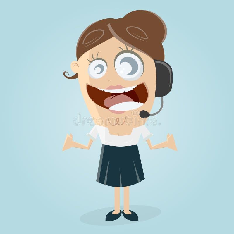 愉快的女性callcenter代理 库存例证