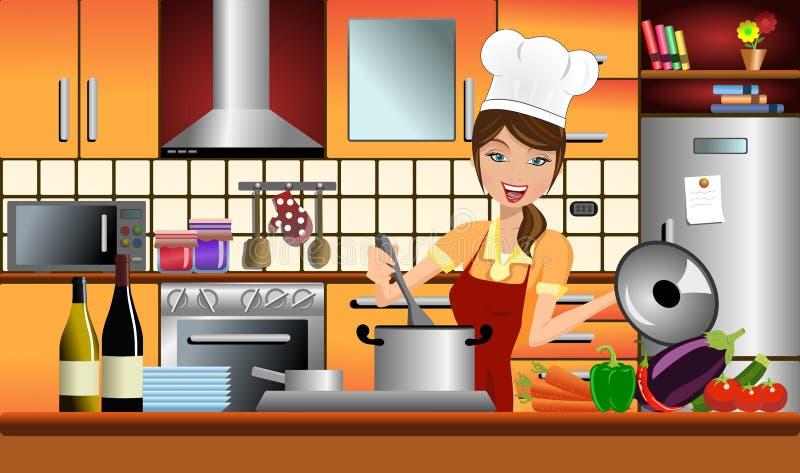 愉快的妇女厨师在一个现代厨房里 向量例证