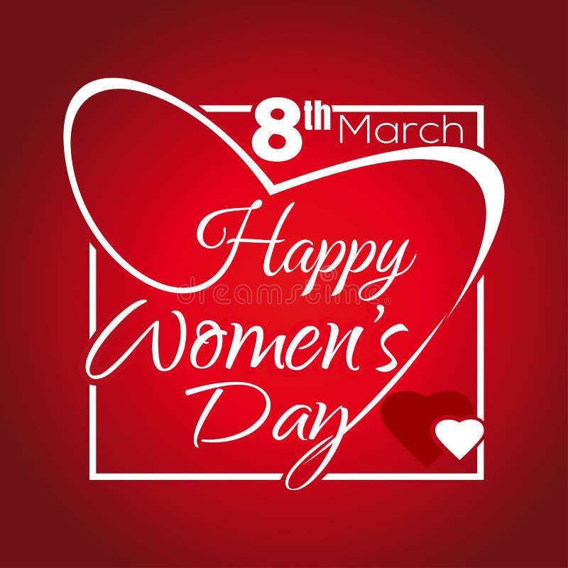 愉快的妇女天 问候题字 3月8日 在一个框架的字法以心脏的形式 向量例证