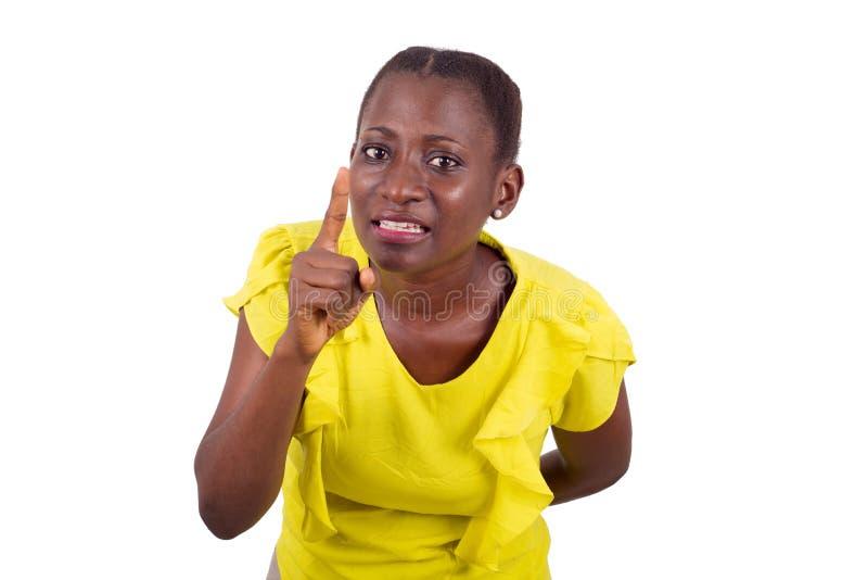 愉快的妇女画象有手势的 免版税库存照片