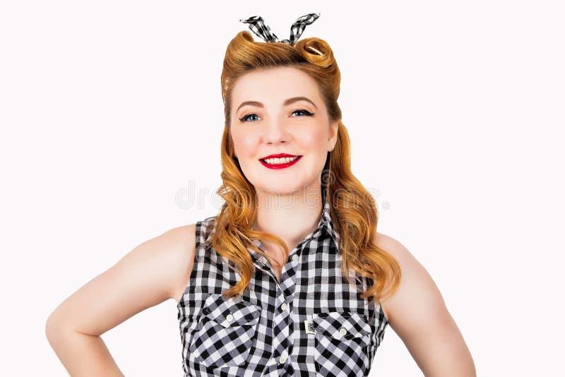 愉快的妇女画象oin-up样式的 图库摄影