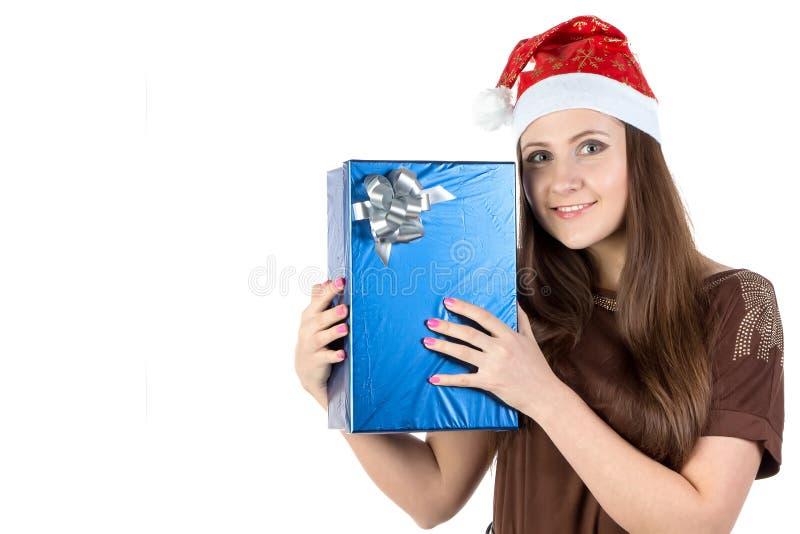 愉快的妇女的图象有礼物的 免版税库存照片