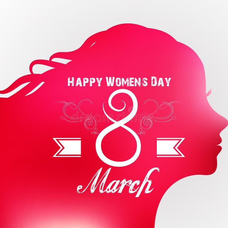 愉快的妇女的天与女性面孔的贺卡 库存例证