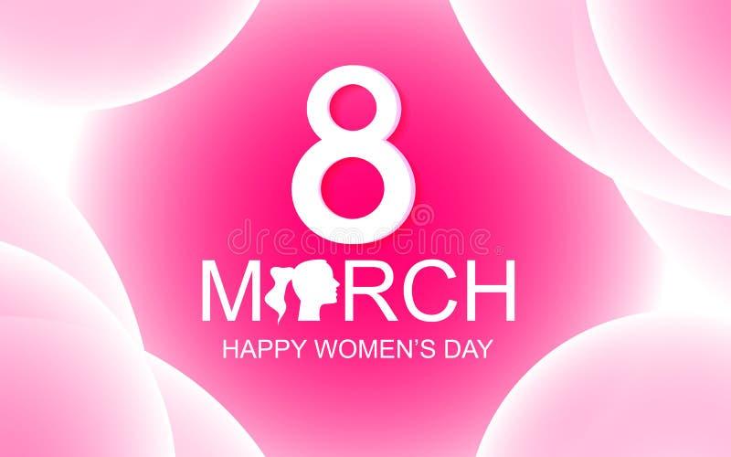 愉快的妇女的天在桃红色抽象背景的贺卡与3月8日文本 秀丽和夫人概念 特别日子题材 库存例证