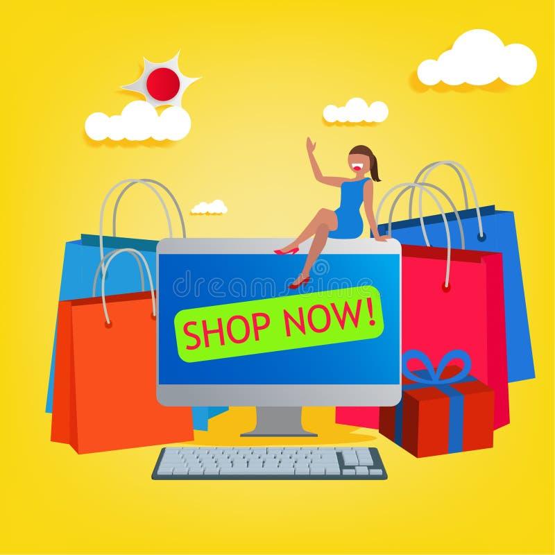 愉快的妇女购物的网上商店 E购物和电子商务骗局 皇族释放例证