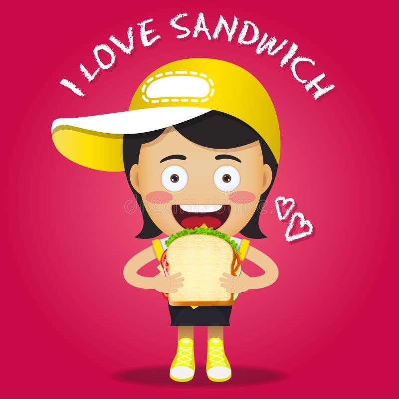 愉快的妇女运载的三明治 向量例证