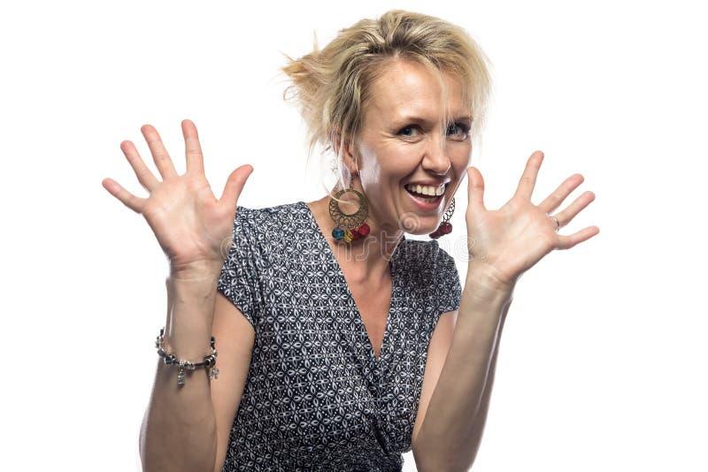 愉快的妇女画象白色背景的 免版税图库摄影