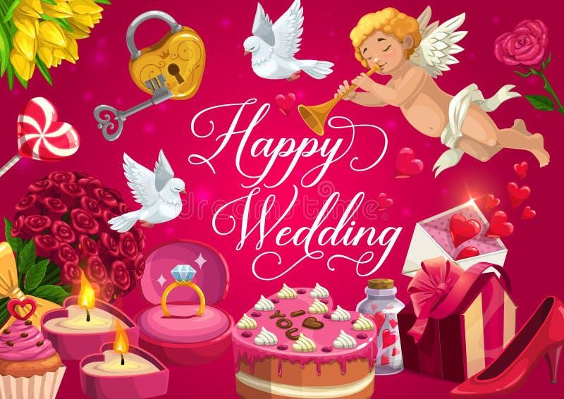 愉快的婚礼、婚姻礼物、蛋糕和心脏 库存例证