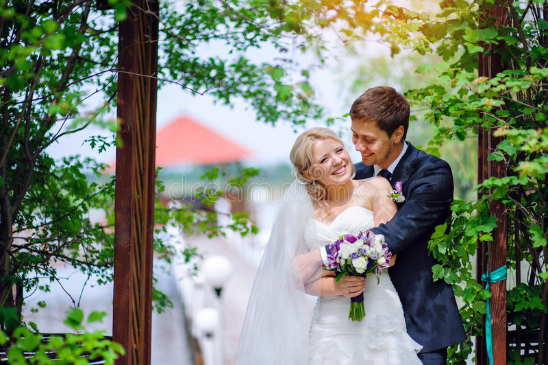 愉快的婚礼夫妇新娘和新郎在公园 免版税库存图片