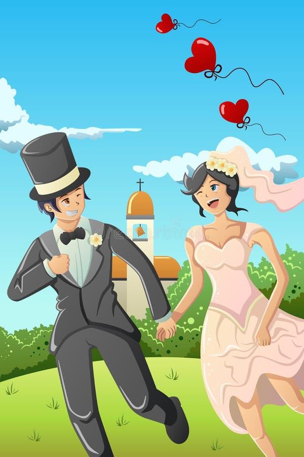 愉快的婚礼夫妇 皇族释放例证