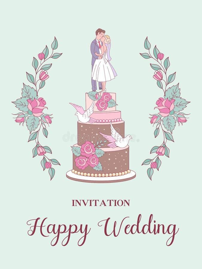 愉快的婚礼 也corel凹道例证向量 新娘仪式花婚礼 婚姻 向量例证