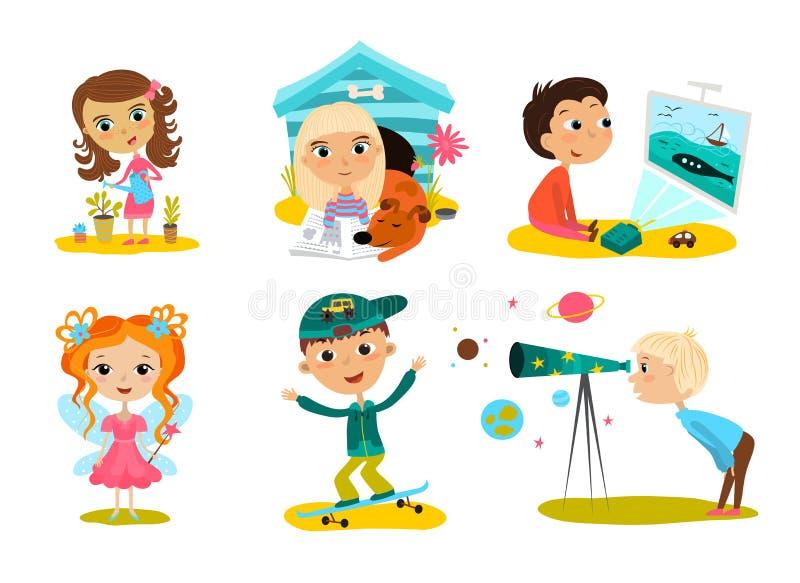 愉快的孩子动画片收藏 多文化孩子用不同的位置被隔绝在白色背景 向量例证