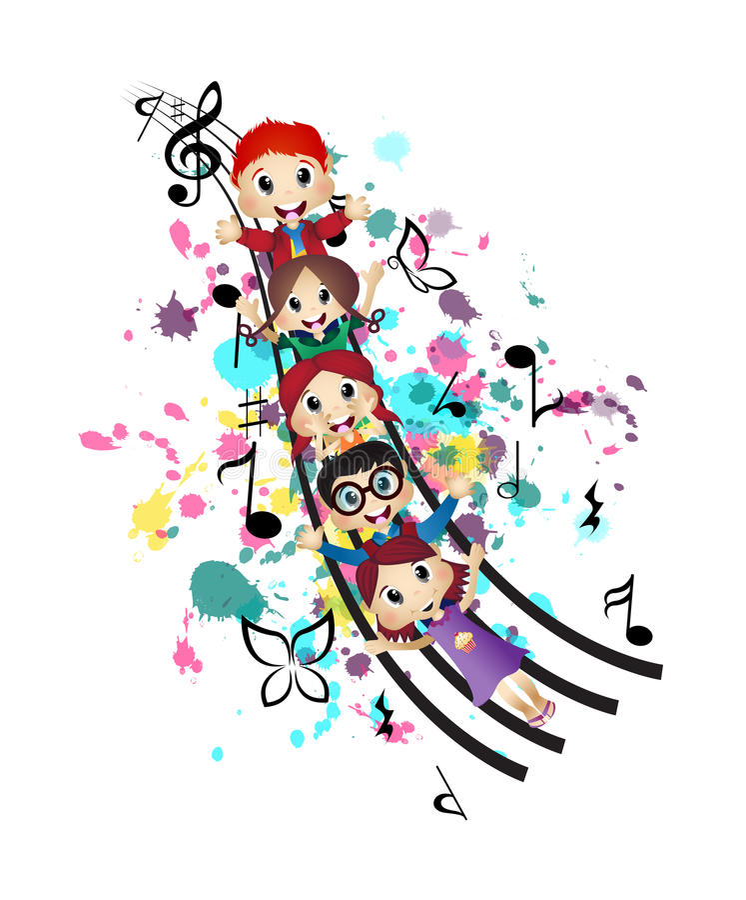 愉快的孩子和音乐 向量例证