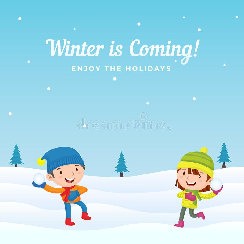 愉快的孩子喜欢演奏在冬天季节背景传染媒介例证的打雪仗 假日贺卡,横幅,海报, 皇族释放例证